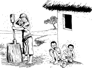 a woman with two children surrounded by mosquitoes