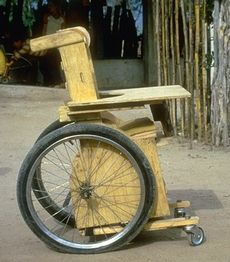 Photo of plywood wheelchair.