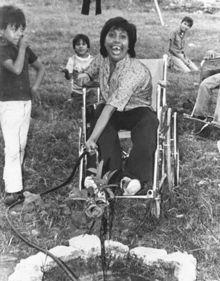 Woman in wheelchair waters plants.
