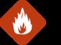 fuego con fondo anaranjado.