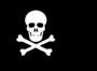 una calavera y huesos cruzados con fondo negro