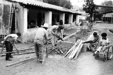 workers working on a house