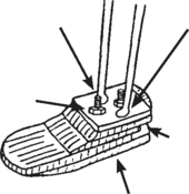 Illustration showing metal foot
