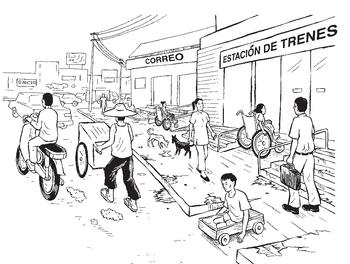 varias personas en carritos y sillas de ruedas utilizan rampas para tener acceso a la oficina de correos y la estación de tren y para cruzar la calle.