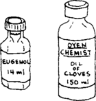 eugenol in 2 different-sized bottles.