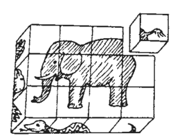 an image of an eliphant made from arranging blocks in correct order