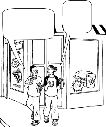 A boy and girl carrying burgers and fries speak as they leave a fast food restaurant.