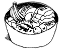 un bol de farine, du riz, des œufs, des fruits et des légumes