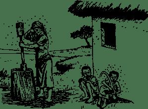 妇女和两个孩子被蚊子包围