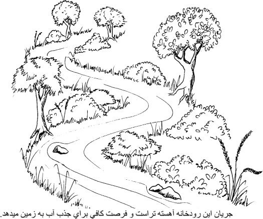 Illustration of the below:A winding river with plants and trees along its shallow banks.