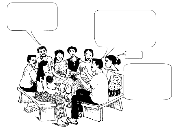 a group of people talking