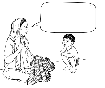 a woman speaking to a child