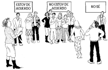illustration of the above: people grouping together near the 3 signs.