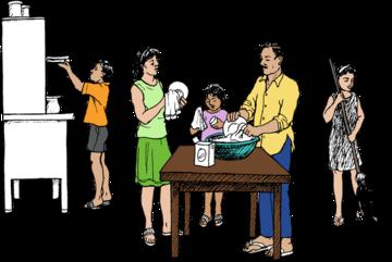Tous les membres de la famille nettoient et rangent après le dîner.
