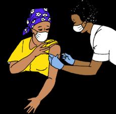 Una trabajadora de salud le pone una inyección a una persona.