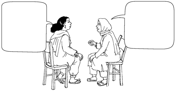 2 women having a conversation.