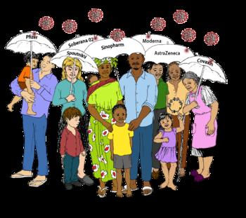 un groupe d'adultes et d'enfants portent des parapluies où sont inscrits les noms de différents vaccins. Le coronavirus, représenté par de petites boules imitant sa forme, rebondit sur les parapluies sans atteindre les gens qui sont dessous. Chaque parapluie porte une étiquette: Pfizer, Moderna, AstraZeneca, SpoutnikV, Sinopharm, Covaxin, et Soberana02.
