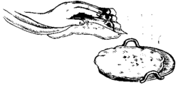 Illustration of the below: hand preparing flatbread