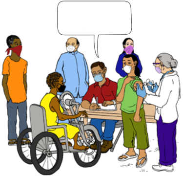 a health worker at a vaccination clinic speaking to a woman in a wheelchair.