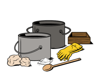 2 pots, wooden spoon, chunks of fat, packet of lye, rubber gloves, and wooden box mold.