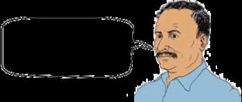 Una persona con bigote habla.