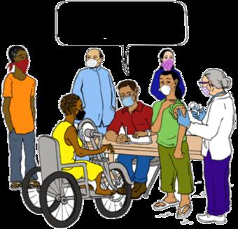 uma profissional de saúde num centro de vacinação falando com uma mulher numa cadeira de rodas.
