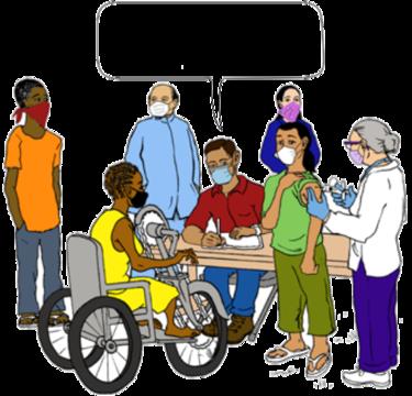 एक आरोग्यसेवक लसीकरण सत्रामध्ये व्हीलचेयर वर बसलेल्या एका महिलेसोबत बोलतांना.