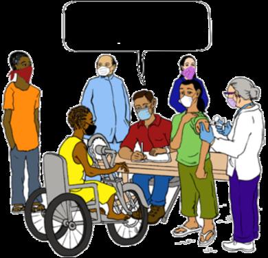 Un soignant dans un centre de vaccination parle à une femme assise dans un fauteuil roulant.