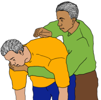 Alt= One man hitting another man back on his back with their cupped hand.
