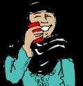 Una persona sonriente habla en su celular