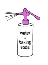 spray bottle containing baking soda and water