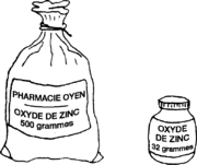 zinc oxide in a 500-gram bag and a 32-gram jar.
