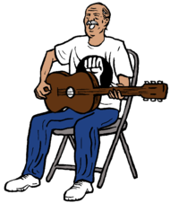 a man playing the guitar and singing.