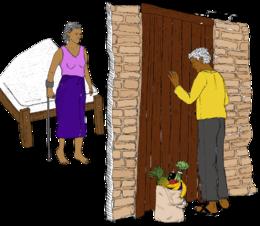 Quelqu'un dépose des provisions à la porte d'une femme qui a un handicap.