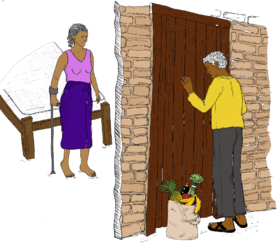 Person delivering groceries to the door of a woman with a disability.