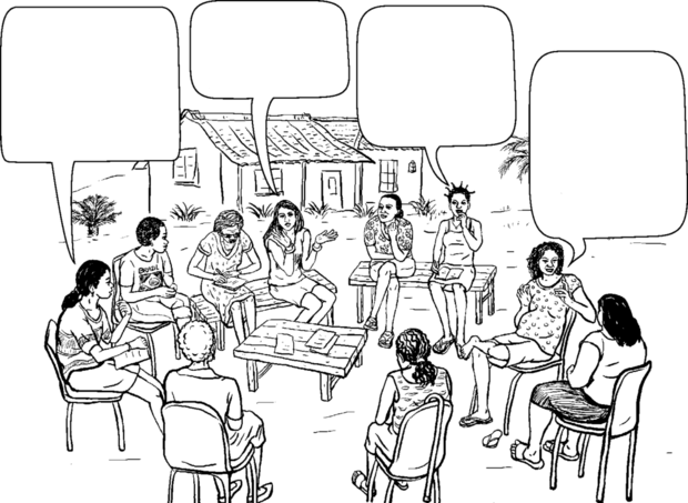 4 women speaking in a large group.