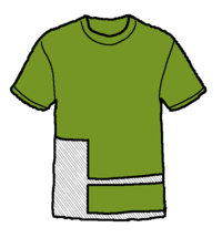 a t-shirt showing the area to cut out for fabric to make a mask.