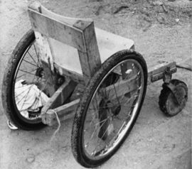 Photo of wheelchair made of a chair.